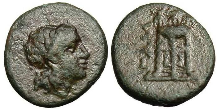"""Ancient Coins - Mysia, Gambrion AE 10 """"Apollo & Tripod"""" VF Rare"""