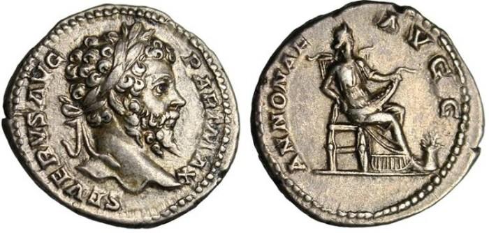 """Ancient Coins - Septimius Severus, AR Denarius """"Annona Seated"""" RIC 156 Scarce"""