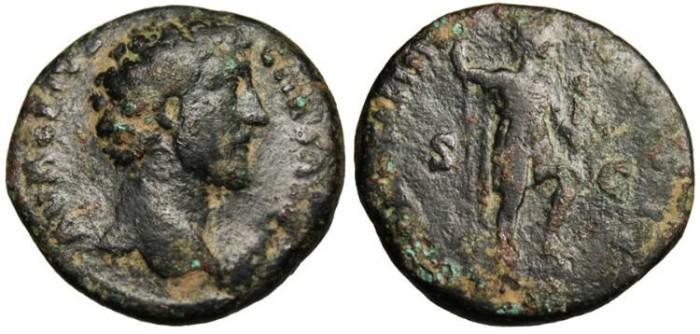 "Ancient Coins - Marcus Aurelius Caesar, Ae As ""Virtus"" RIC 1323 var Scarce"