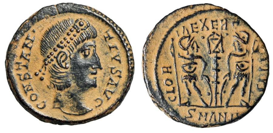 """Ancient Coins - Constantius II """"GLORIA EXERCITVS Soldiers, One Standard"""" Antioch Desert Patina"""