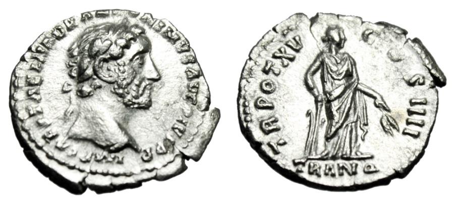 """Ancient Coins - Antoninus Pius Silver Denarius """"Tranquilitas, Tranquillity"""" 152 AD RIC 218 EF"""