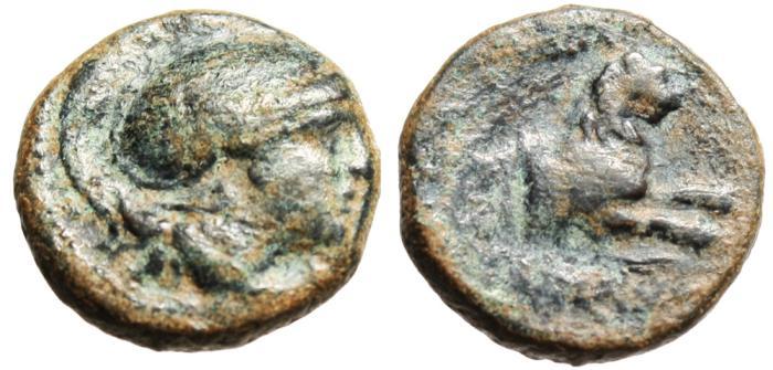 "Ancient Coins - Thracian King: Lysimachos AE14 ""Athenian Helmet & Forepart Lion"" Lysimachia"