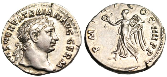 "Ancient Coins - Trajan Silver AR Denarius ""Victory Walking Left"" Rome RIC 60 EF Choice"