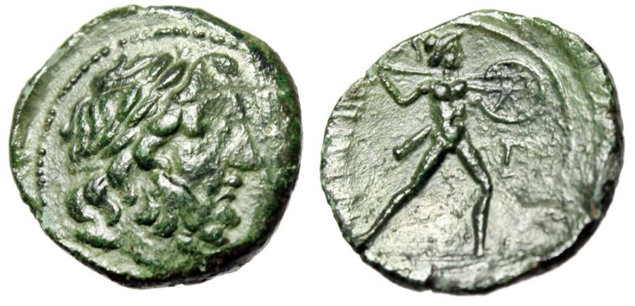 "Ancient Coins - Sicily, The Mamertini (Mamertinoi) Pentonkion ""Zeus & Warrior"" Rare Type EF"