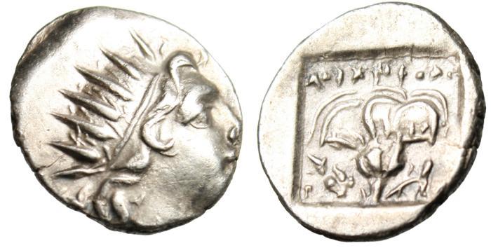 "Ancient Coins - Caria Rhodes (Rhodos) Silver Drachm ""Helios, Rose, Knucklebone, Dolphin"" Rare EF"