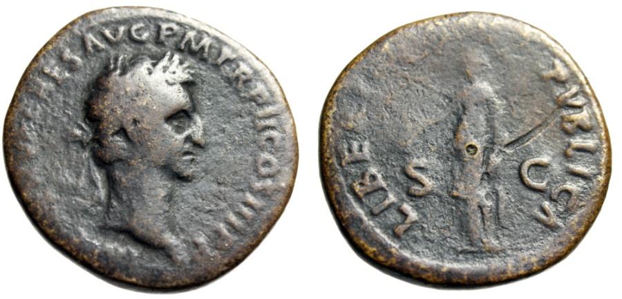 "Ancient Coins - Nerva Brass Sestertius ""LIBERTAS PVBLICA Libertas, Pileus"" Rome 97 AD RIC 100"