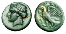 "Ancient Coins - Caria, Halikarnassos AE12 ""Apollo Left & Eagle, Lyre"" Gem-Like Green Patina"