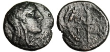 "Ancient Coins - Aeolis, Elaia AE16 ""Demeter & Torch in Wreath"" 2nd-1st Century BC"