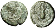 """Ancient Coins - Caria, Alinda AE14 """"Laueate Young Herakles & Lion's Skin Draped over Club"""" Very Rare"""