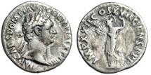 "Ancient Coins - Domitian AR Denarius ""Minerva Standing, Holding Thunderbolt"" Date 95 AD RIC 772"