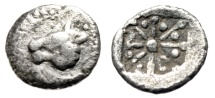 "Ancient Coins - Asia Minor, Uncertain Silver AR Hemiobol ""Horned Lion & Incuse"" 5th Century Rare"