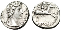 "Ancient Coins - Augustus Silver Denarius ""Son Caius on Horseback, Standards"" Lyons RIC 199 VF"