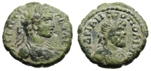 "Ancient Coins - Geta AE18 ""Bust of Serapis"" Thrace, Hadrianopolis Rare VF"