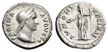"Ancient Coins - Sabina AR Denarius ""IONONI REGINAE Juno Standing"" Rome 128-136 AD RIC 395a VF"