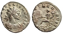 "Ancient Coins - Aurelian Silvered Antoninianus ""FORTVNA REDVX Fortuna Seated"" Milan RIC 128 EF"