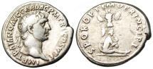 "Ancient Coins - Trajan Silver Denarius ""SPQR OPTIMO PRINCIPI Dacian Captive Trophy"" Rome RIC 222"