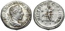 """Ancient Coins - Elagabalus AR Denarius """"Victory, Two Shields"""" Rome RIC 45 VF"""
