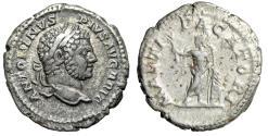 "Ancient Coins - Caracalla AR Denarius ""MARTI PACATORI Mars With Shield"" 210-213 AD Near VF"