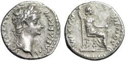 "Ancient Coins - Tiberius ""Tribute Penny"" AR Denarius ""Livia, Double Line"" RIC 30 Scarce Near EF"