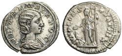 "Ancient Coins - Julia Mamaea (Mother of Severus Alexander) AR Denarius ""Juno, Peacock"" gVF"