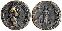 "Ancient Coins - Domitian AE Dupondius ""Fides Holding Basket of Fruit"" Rome 86 AD RIC 478 Rare"