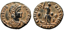 """Ancient Coins - Theodosius I AE3 """"CONCORDIA AVGGG City Goddess Enthroned"""" Antioch RIC 47c gVF"""