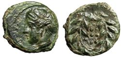 """Ancient Coins - Sicily, Himera AE Hemilitron """"Nymph & Six Pellets in Wreath"""" EF"""