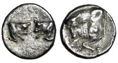 "Ancient Coins - Caria Uncertain AR Hemiobol ""Confronted Bull Foreparts & Single"" gVF Well-Struck"