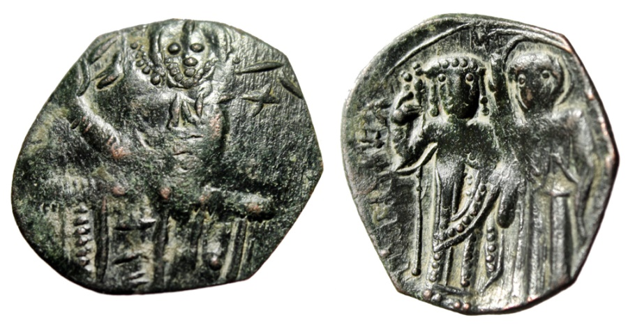 """Ancient Coins - Michael VIII Paleologus AE Trachy """"St. Theodore, Spear"""" Constantinople SB 2270"""
