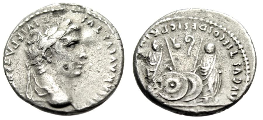 """Ancient Coins - Augustus Silver Denarius """"Sons Caius & Lucius, Shields & Spears"""" RIC 208 aVF"""