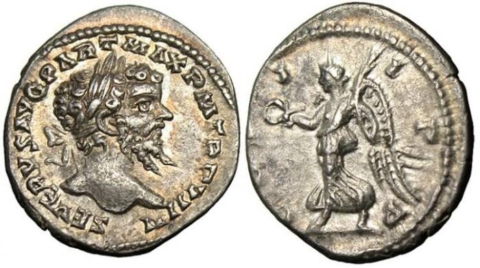"Ancient Coins - Septimius Severus, AR Denarius ""COS II PP Victory"" RIC 523 Rare EF"