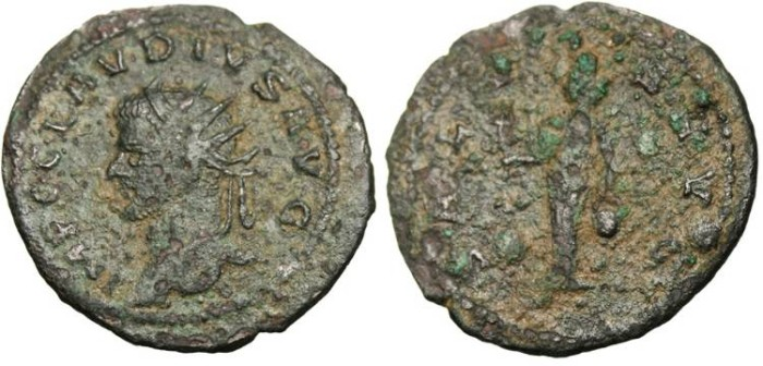 "Ancient Coins - Claudius II, AE Ant ""Isis Faria"" Antioch RIC 217 var RARE Bust Left"