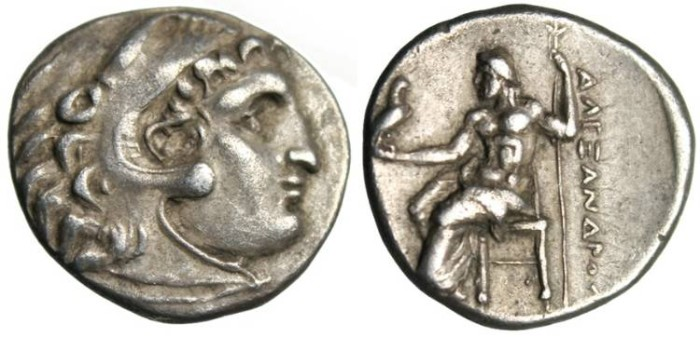 "Ancient Coins - Alexander III The Great AR Drachm ""Zeus Seated, No Markings"" Rare 2974"