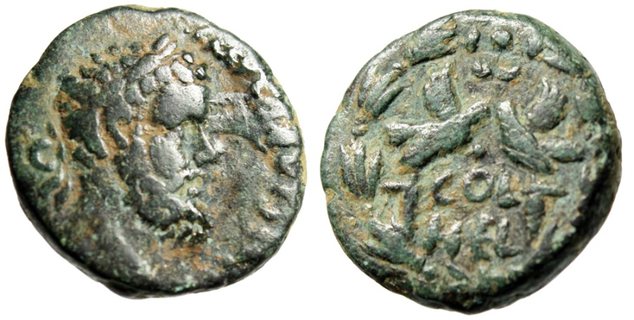 """Ancient Coins - Septimius Severus AE19 """"COL HEL Two Eagle Standards"""" Syria Heliopolis"""