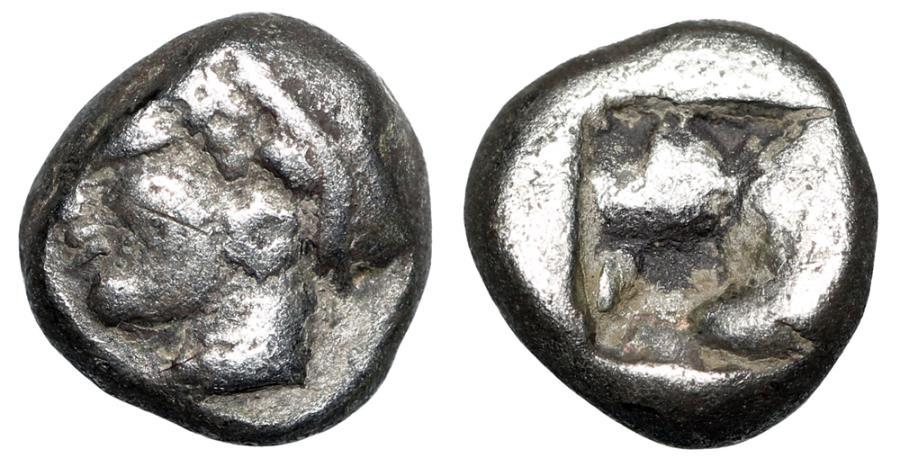 "Ancient Coins - Ionia, Phokaia AR Diobol ""Female Head & Rough Incuse Square"" Good Fine"