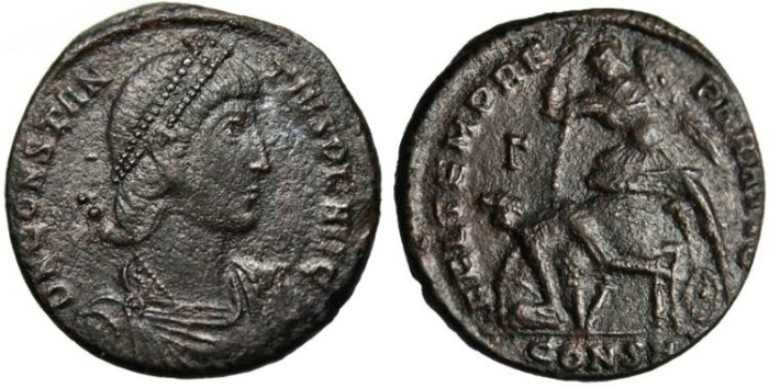 "Ancient Coins - Constantius II, AE Centenionalis ""Spearing Fallen Horse Rider"" Constantinople RIC 82"