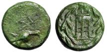 "Ancient Coins - Sikyonia, Sikyon AE Tetrachalkon ""Dove Feeding & Tripod in Wreath"" Good VF Green"