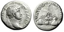 """Ancient Coins - Hadrian AR Didrachm """"Helios Atop Mt. Argaeus"""" Cappadocia Caesarea aVF"""