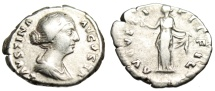 "Ancient Coins - Faustina II Silver Denarius ""AVGVSTI PII FIL Spes With Flower"" Rome RIC 497"