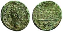 "Ancient Coins - Marcus Aurelius AE As ""Galley With 4 Rowers & Neptune"" Rome RIC 1192 Scarce gVF"
