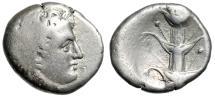 """Ancient Coins - Kyrenaica, Kyrene AR Didrachm """"Karneios & Silphion Plant"""" 308-305 BC About VF"""