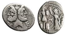 """M Furius L F Philus AR Denarius """"Janus & Roma Crowning Gallic Trophy"""" Toned"""