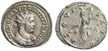 """Ancient Coins - Carinus Silvered Antoninianus """"Aequitas, Scales"""" Lugdunum (Lyons) RIC 212 gVF"""