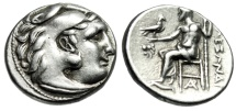 "Ancient Coins - Alexander III The Great AR Drachm ""Herakles & Zeus, Lion Head, AP"" Magnesia gVF"