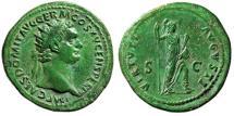 "Ancient Coins - Domitian AE Dupondius ""VIRTVTI AVGVSTI Virtus, Helemet"" Rome 90-91 AD gVF Green"