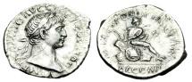 "Ancient Coins - Trajan Silver Denarius ""Dacian Captive, Pile of Arms"" Rome 107-108 AD RIC 96 EF"