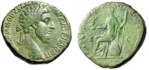 "Ancient Coins - Commodus Sestertius ""Roma Seated on Shield"" Rome RIC 401 About VF Green Patina"
