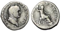 "Ancient Coins - Vespasian AR Denarius ""Togate, Seated With Branch"" Rome 74 AD RIC 683"