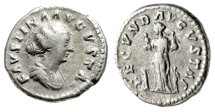 "Ancient Coins - Faustina II AR Denairus ""FECVND AVGVSTAE Fecunditas, Four Children"" Rome RIC 676"