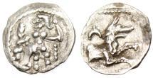 "Ancient Coins - Cilicia, Laranda Silver AR Obol ""Baal Seated & Forepart of Wolf"" EF Choice"